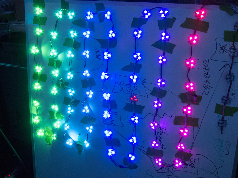 Testing 64 LED Pixels in a temporary layout