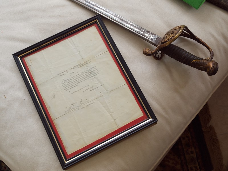William Wallace's Civil War sword and letter of discharge.