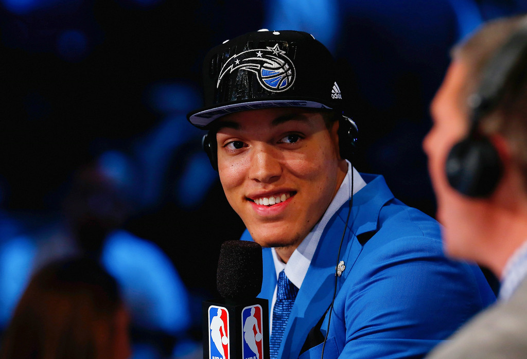 . Aaron Gordon of Arizona smiles during an interview after being drafted with the #4 overall pick by the Orlando Magic during the 2014 NBA Draft at Barclays Center on June 26, 2014 in the Brooklyn borough of New York City.   (Photo by Mike Stobe/Getty Images)