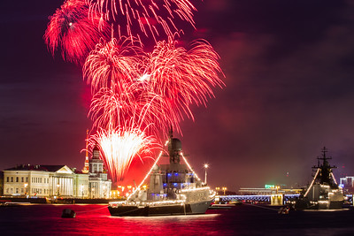 Fireworks at Russian Navy Day