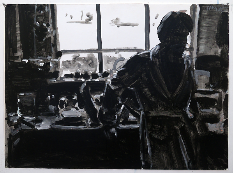 Man in Kitchen (b/w); acrylic on paper, 22 x 30 in, 1990
