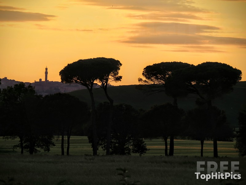 A Stunning Sunset Looking Over Fields at Siena in Tuscany, Italy