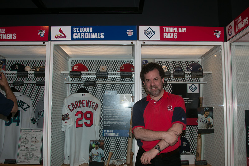 David at Cardinals locker -- A trip to the Baseball Hall of Fame, Cooperstown, NY, June 2014
