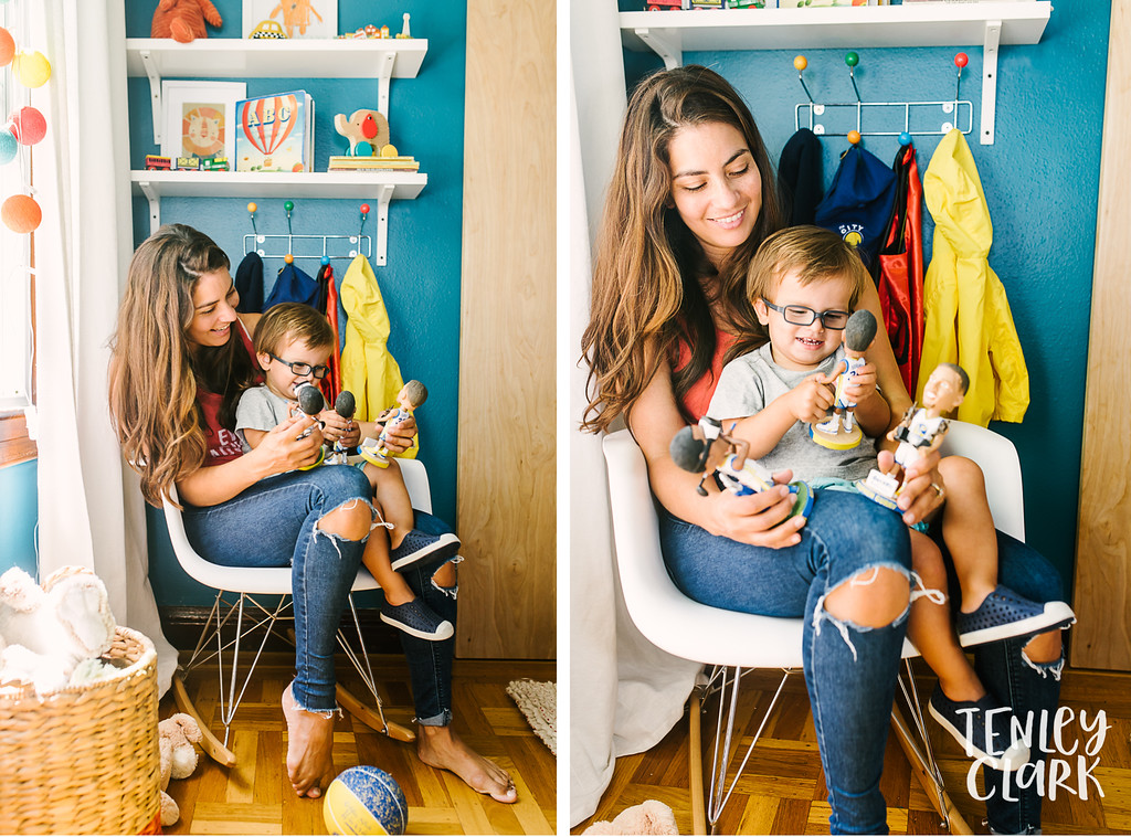 Bay Area in home lifestyle day in the life family photography session in colorful San Francisco home by Tenley Clark Photography.