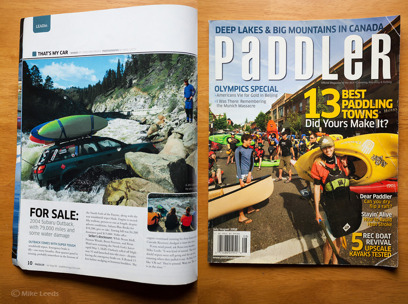 (photos left) Infamous Subaru in Juicer Rapid on the North Fork Payette River in Idaho. Paddler Magazine July/August 2008
