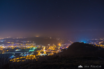 Night views over Kamnik from Špica - Dec 25, 2017