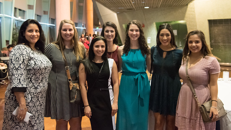 Inductees (Left to Right) Wanda Ziehr, Kinberlee Reed, Anna Robles, Lauren Garcia, Kaitlyn Breedlove, Marion Flores, and Lorisa Gallardo pose for a quick photo before the induction ceremony.