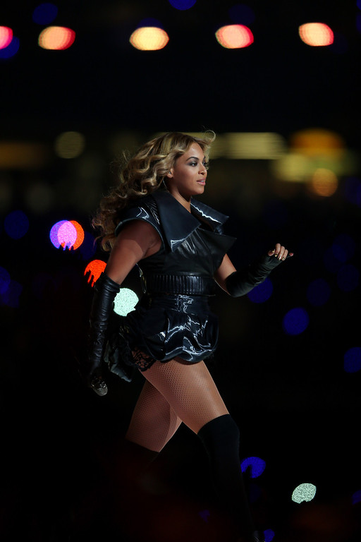 . Singer Beyonce performs during the Pepsi Super Bowl XLVII Halftime Show at the Mercedes-Benz Superdome on February 3, 2013 in New Orleans, Louisiana.  (Photo by Mike Ehrmann/Getty Images)