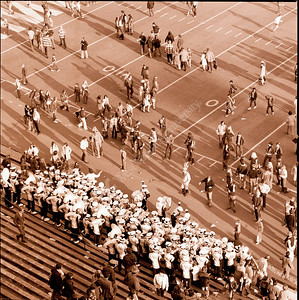 Athletic Publications Football Fans on Field After Game 1971