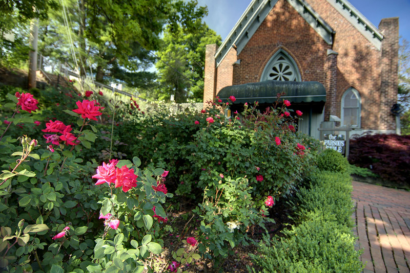 Beautiful roses bloom in front of The Parson's Table in Jonesborough, TN on Friday, June 6, 2014. Copyright 2014 Jason Barnette