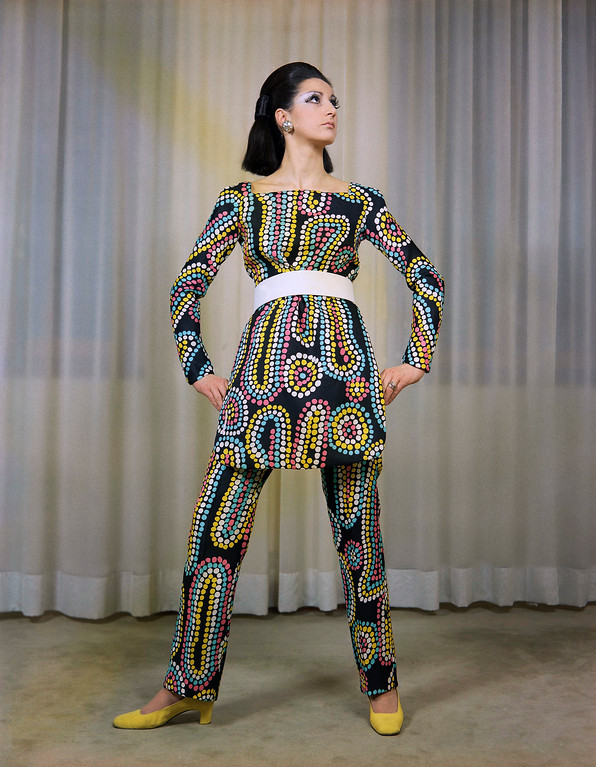 . Dress pants and top of black Gazard silk printed with white, yellow, turquoise, and pink points in irregular designs, Jan. 28, 1969. (AP Photo/Mario Torrisi)