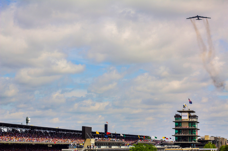 Bomber flies over the Indianapolis Motor Speedway during the National Anthem at the 101st Indy 500.
