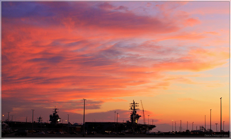Sunset at the Norfolk Navy Base.