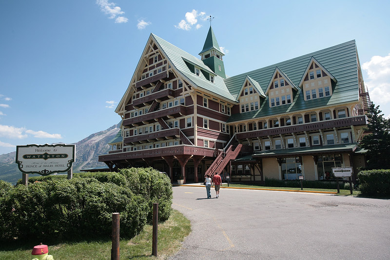 "Glacier National Park - Waterton.  Waterton is in Canada.  It is an adjoining park that is a partner with Glacier National Park.  This is the exterior of the ""Prince of Wales"" Inn."