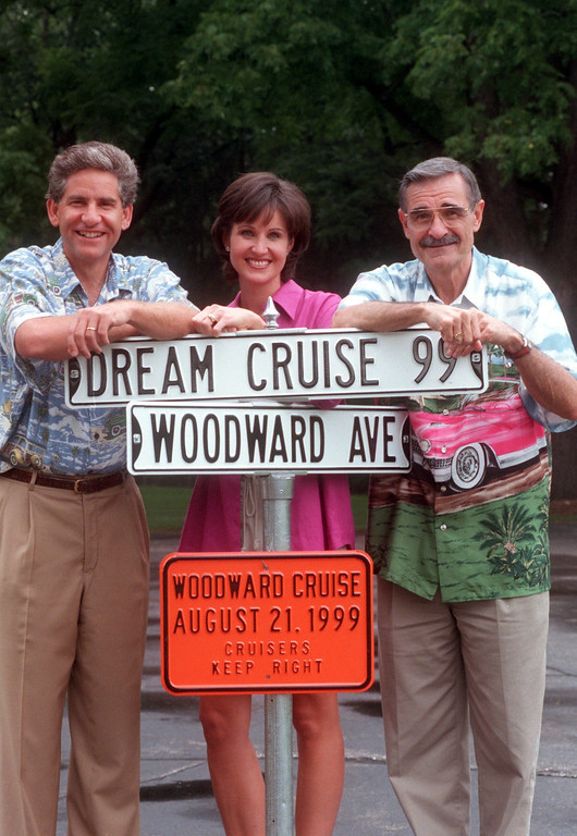 . (f.left) Channel 7\'s Guy Gordon, Joanne Purtan and Oldies 104.3 radio personality Dick Purtan will the the hosts of the 1999 Dream Cruise August 21st.