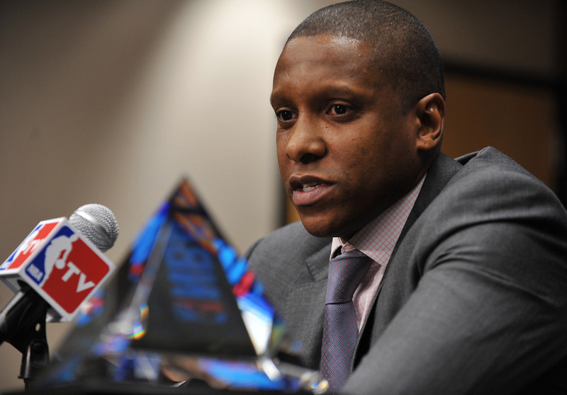 . Denver Nuggets executive vice resident of basketball operations Masai Ujiri has been named the 2012-13 NBA executive of the year. Ujiri is in the press conference at Pepsi Center, Denver, Colorado. May 9, 2013.  (Photo By Hyoung Chang/The Denver Post)