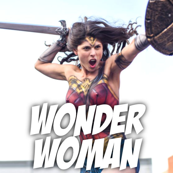 Wonder Woman body paint by body painter Paul Roustan