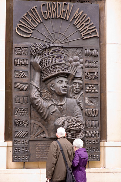 Bronze relief sculpture, Covent Garden, London, United Kingdom