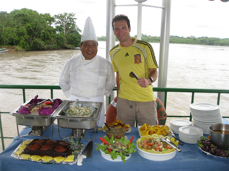 Andrew tries to pretend that he's responsible for creating the feast that Chef Manuel has prepared aboard the Manatee