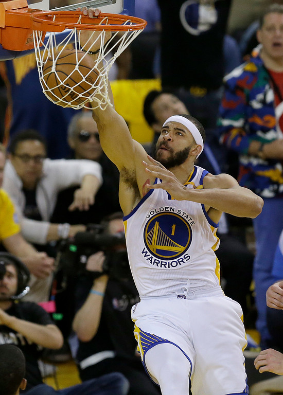 . Golden State Warriors center JaVale McGee (1) dunks against the Cleveland Cavaliers during the first half of Game 2 of basketball\'s NBA Finals in Oakland, Calif., Sunday, June 4, 2017. (AP Photo/Ben Margot)