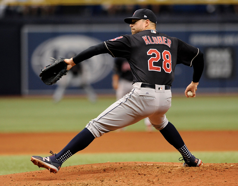 . Cleveland Indians starter Corey Kluber pitches against the Tampa Bay Rays during the sixth inning of a baseball game, Sunday, Aug. 13, 2017, in St. Petersburg, Fla. (AP Photo/Steve Nesius)