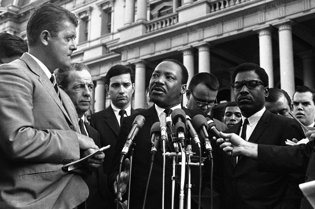 . Dr. Martin Luther King arrives in Washington, D.C.,  Oct. 23, 1967 to testify before the National Advisory Commission on Civil Disorders. (AP Photo)