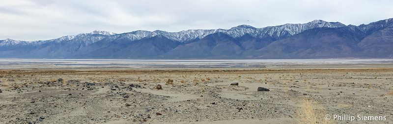 Owens Lake, now dry and dusty