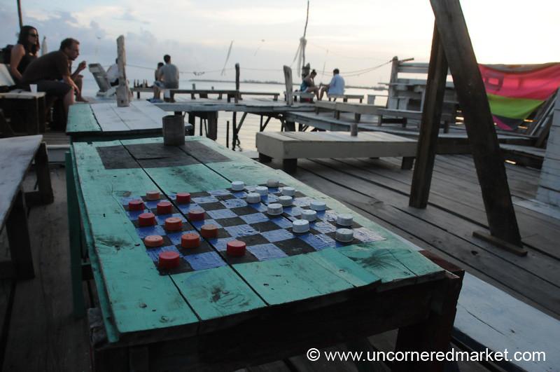 Checkers at Babalu Bar - Utila, Honduras