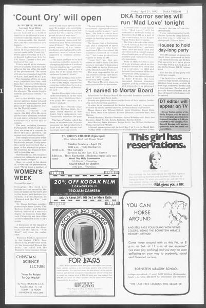 Daily Trojan, Vol. 64, No. 109, April 21, 1972