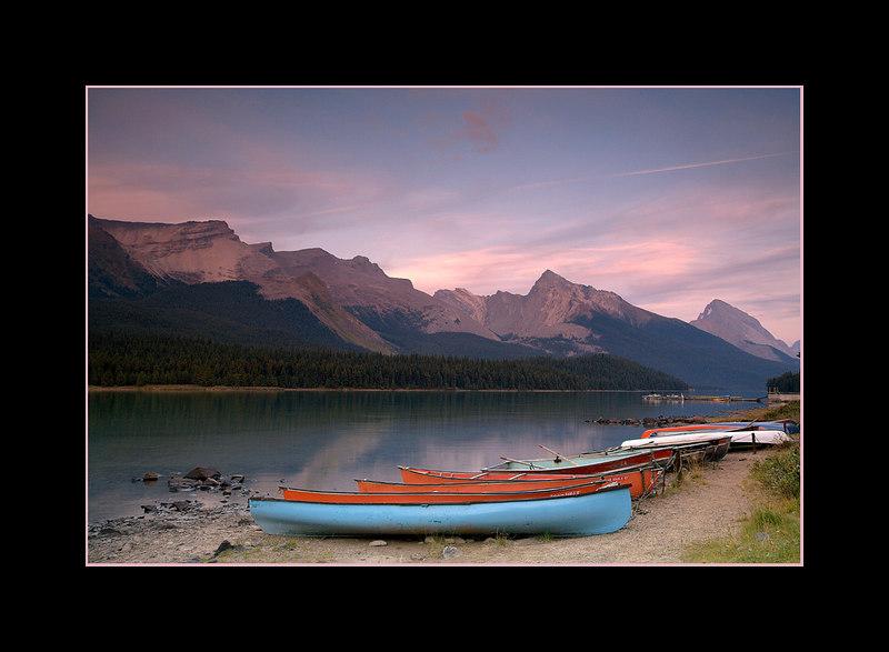Sunset over Maligne Lake, Jasper National Park