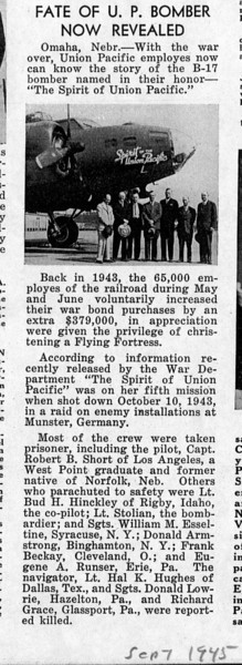 The follow-up article after the war, in Union Pacific's September 1945 employee newsletter.
