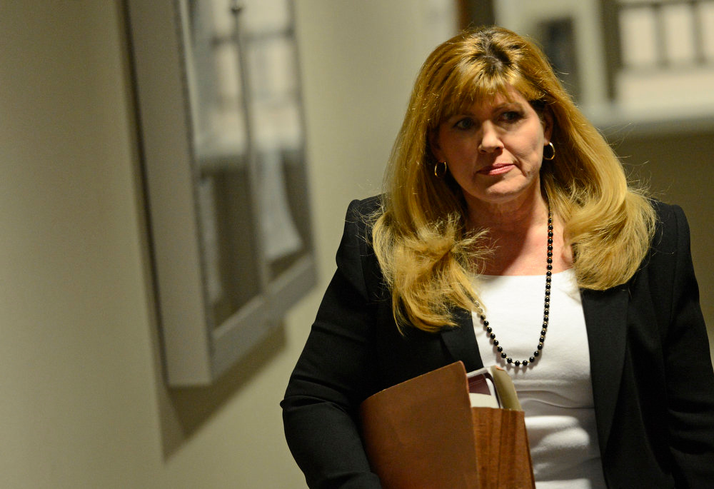. Karen Pearson, the lead prosecutor, arrives for a court hearing for Aurora theater shooting suspect James Holmes, Monday April 01, 2013. The prosecution will go for the death penalty against the Aurora theater shooting suspect James Holmes. (Photo By RJ Sangosti/The Denver Post)
