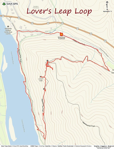 Lover's Leap Loop Hike Route Map