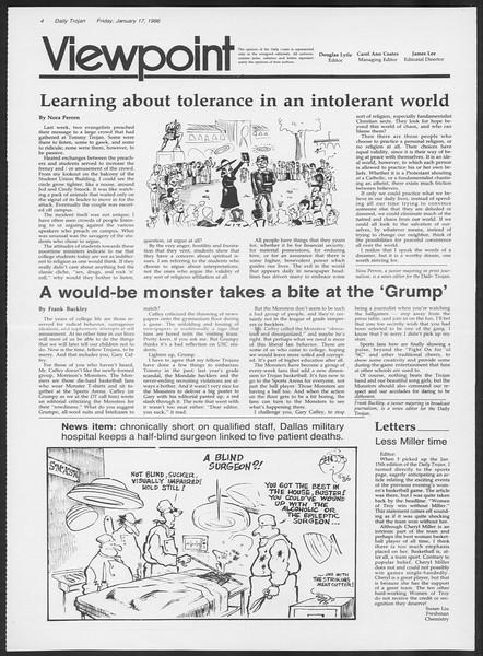 Daily Trojan, Vol. 100, No. 6, January 17, 1986