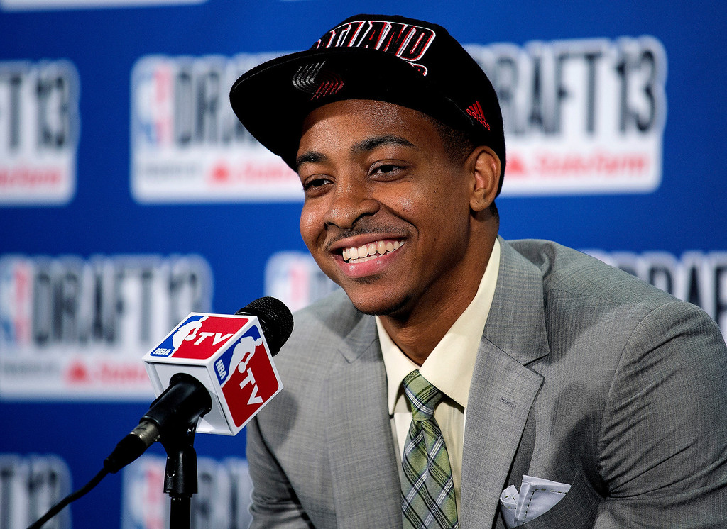 . Lehigh\'s C.J. McCollum, picked by the Portland Trail Blazers in the first round of the NBA basketball draft, smiles during a news conference Thursday, June 27, 2013, in New York. (AP Photo/Craig Ruttle)