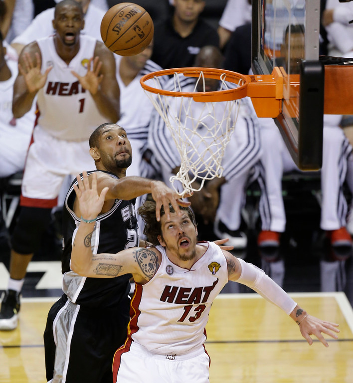 . San Antonio Spurs power forward Tim Duncan (21) blocks the shot of Miami Heat shooting guard Mike Miller (13) during the second half of Game 6 of the NBA Finals basketball game, Tuesday, June 18, 2013 in Miami. (AP Photo/Wilfredo Lee)