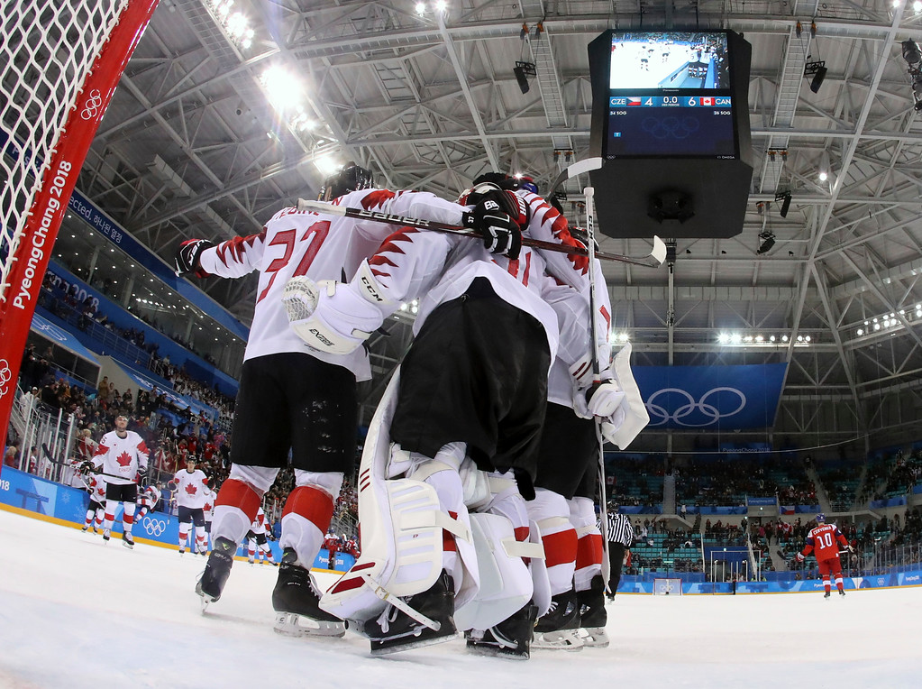 . Canada hockey team celebrats after the men\'s bronze medal hockey game against the Czech Republic at the 2018 Winter Olympics in Gangneung, South Korea, Saturday, Feb. 24, 2018. Canada won 6-4. (Bruce Bennett/Pool Photo via AP)