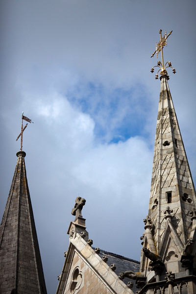 Spires of Saint Pierre Cathedral, Vannes, department of Morbihan, region of Brittany, France