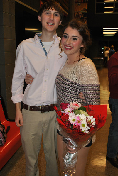 2-14-13: Student Emily DeVries gets surprised by her boyfriend after a performance of Urinetown the Musical.