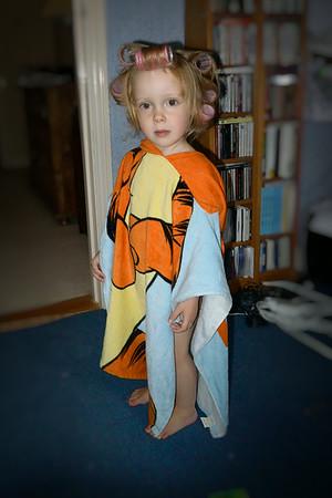 Jaimie in Tigger towel Aug 2014