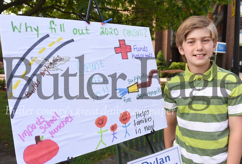 Harold Aughton/Butler Eagle: Dylan Thurber, fourth grader at Summit Elementary, took first place in the Count Me In! poster contest to promote the U.S. Census sponsored by the county commissioners and the Butler Eagle.