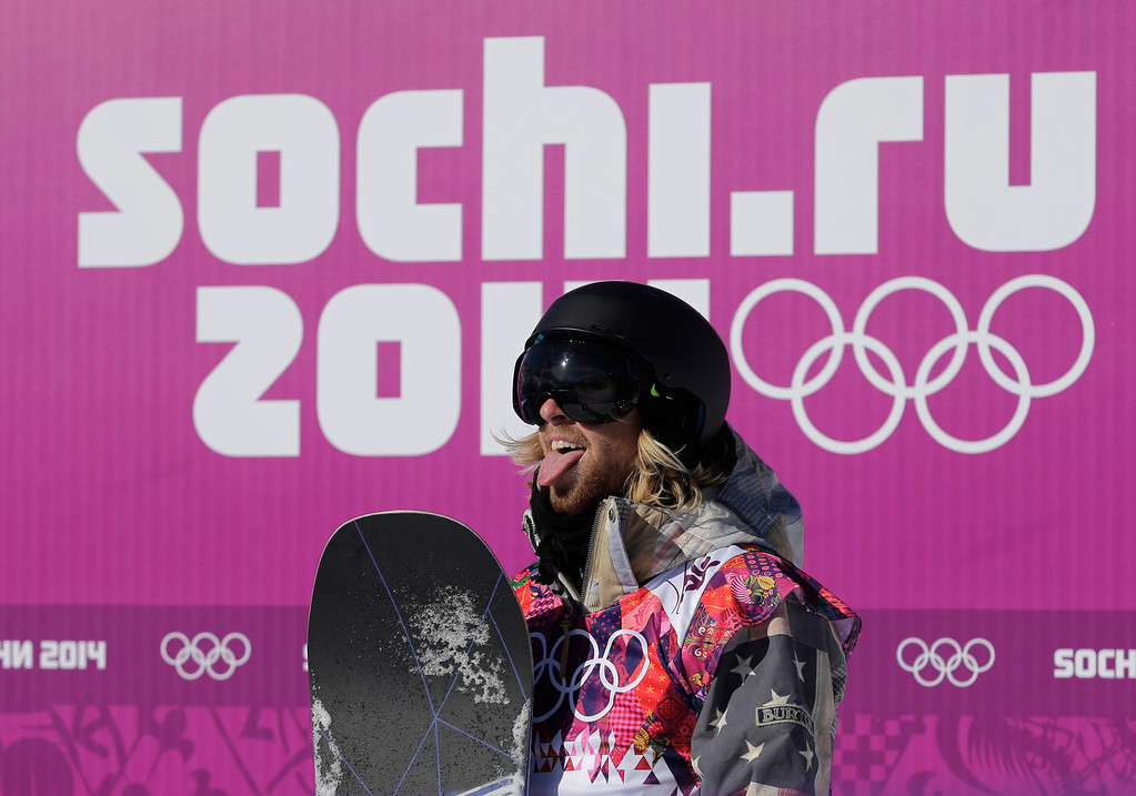 . United States\' Sage Kotsenburg reacts after a run during the men\'s snowboard slopestyle qualifying at the Rosa Khutor Extreme Park ahead of the 2014 Winter Olympics, Thursday, Feb. 6, 2014, in Krasnaya Polyana, Russia.  (AP Photo/Andy Wong)