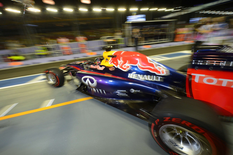 . Red Bull Racing French driver Sebastian Vettel takes off during the second practice session of the Formula One Singapore Grand Prix at the Marina Bay Street circuit on September 19, 2014. The Singapore Grand Prix will take place on September 21. ROMEO GACAD/AFP/Getty Images