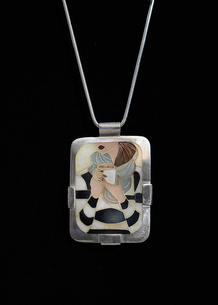 "Fine Silver Champlevé and Cloisonné Girl with Coffee. Pendant measures 2 1/4 inches long by approximately 1 5/8 inches wide. Fine Silver cross back bail and ""frame"" . Pendant is shown on a 16 inch Sterling Silver snake chain BUT, I see other possibilities. 285.00"