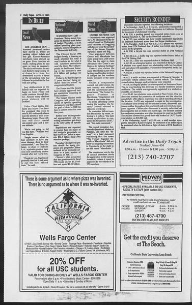Daily Trojan, Vol. 119, No. 53, April 08, 1993