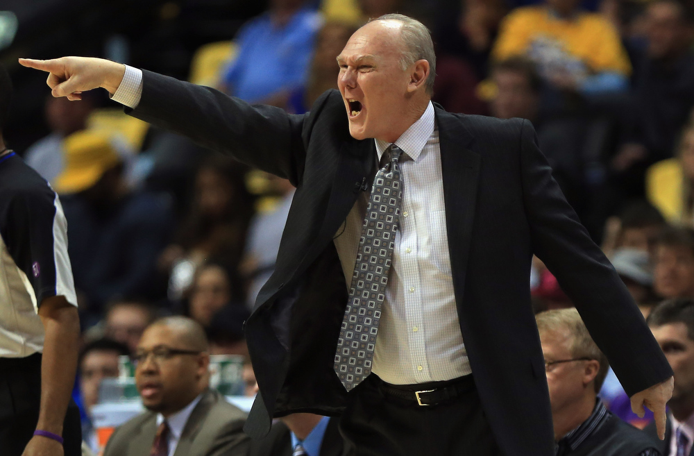 . Head coach George Karl leads the Denver Nuggets against the Golden State Warriors during Game Five of the Western Conference Quarterfinals of the 2013 NBA Playoffs at the Pepsi Center on April 30, 2013 in Denver, Colorado. (Photo by Doug Pensinger/Getty Images)