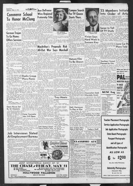 Daily Trojan, Vol. 42, No. 125, May 08, 1951