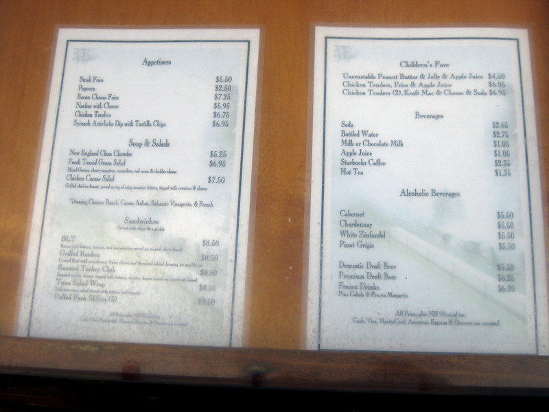 Sons of Liberty Tavern menu.