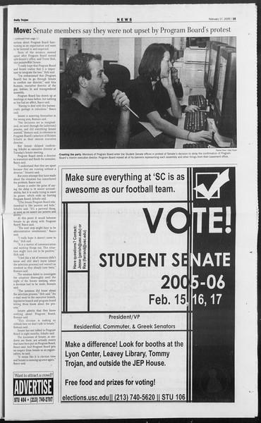 Daily Trojan, Vol. 154, No. 26, February 17, 2005