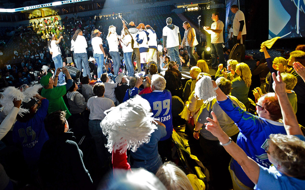 . Thousands were on hand to celebrate the Minnesota Lynx and their WNBA championship season during a pep rally at Target Center.  (Pioneer Press: Ben Garvin)